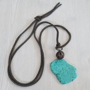 Boho Necklace Turquoise Suede Long Layering NWT